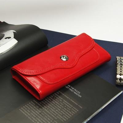 Кошелёк женский, 6 отделов, отдел для кредиток и монет, цвет красный