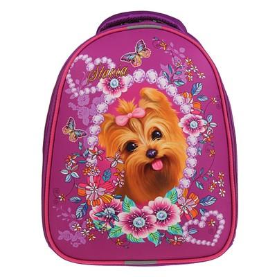 Рюкзак каркасный Stavia 38*30*16 эргономичная спинка, для девочки «Собачка» 8058Б сиреневый