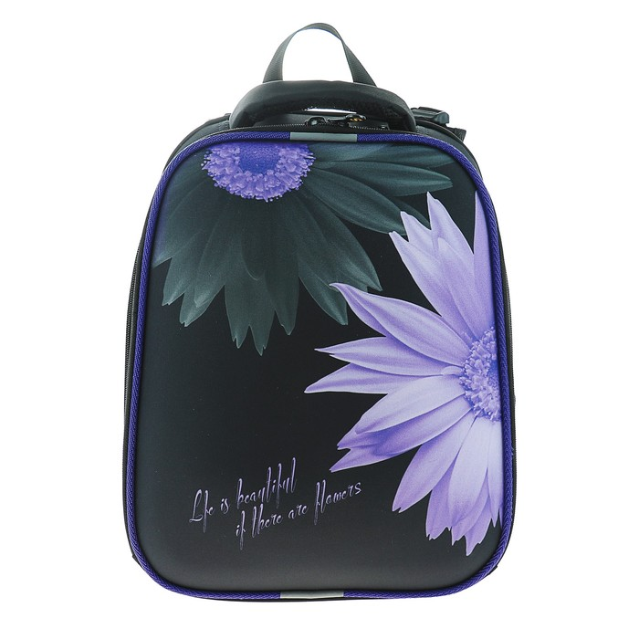 Рюкзак каркасный Stavia 38*30*16 эргономичная спинка, для девочки «Цветок» 8048Б чёрный