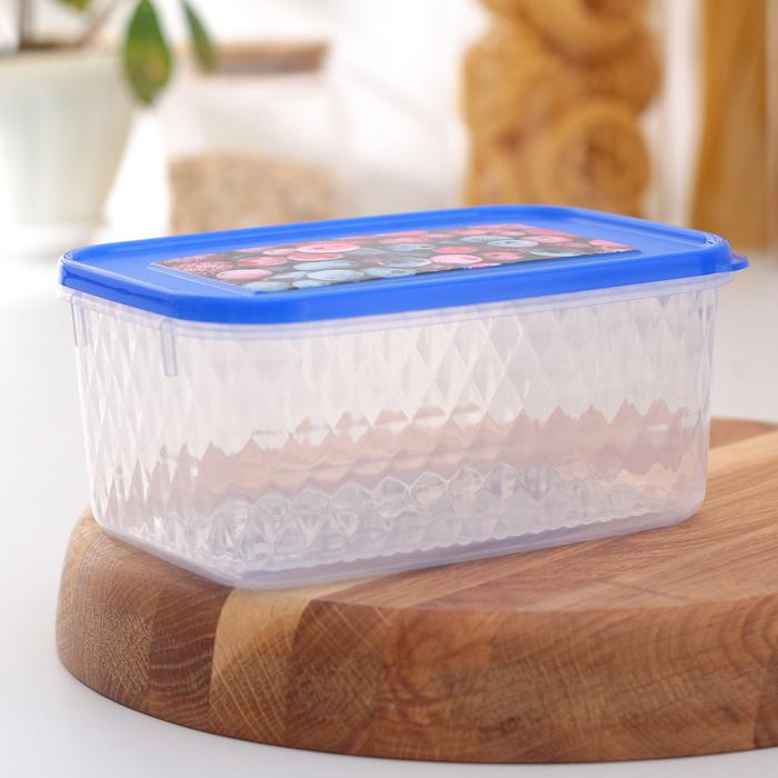 """Контейнер для замораживания и хранения продуктов 1,3 л """"Кристалл"""", с декором, цвет МИКС"""