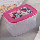 """Контейнер для замораживания и хранения продуктов 1,7 л """"Кристалл"""", с декором, цвет голубой"""