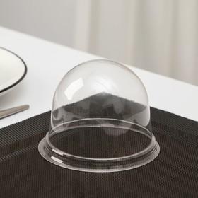 Крышка одноразовая к контейнеру ПР-Т-85К, круглая, прозрачная, 11×8,2 см, 390 шт/уп