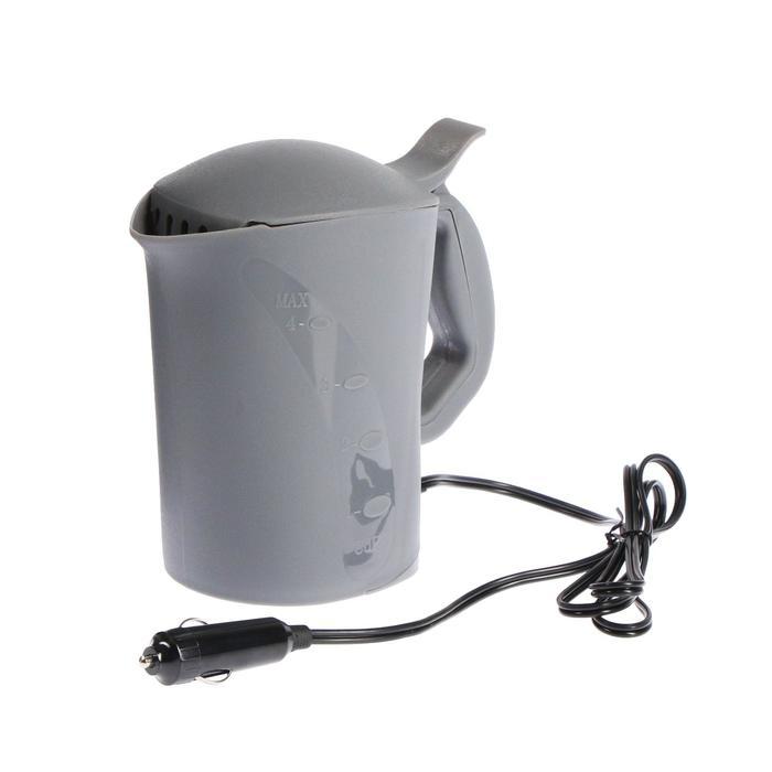 Чайник автомобильный 12 В серый пластик