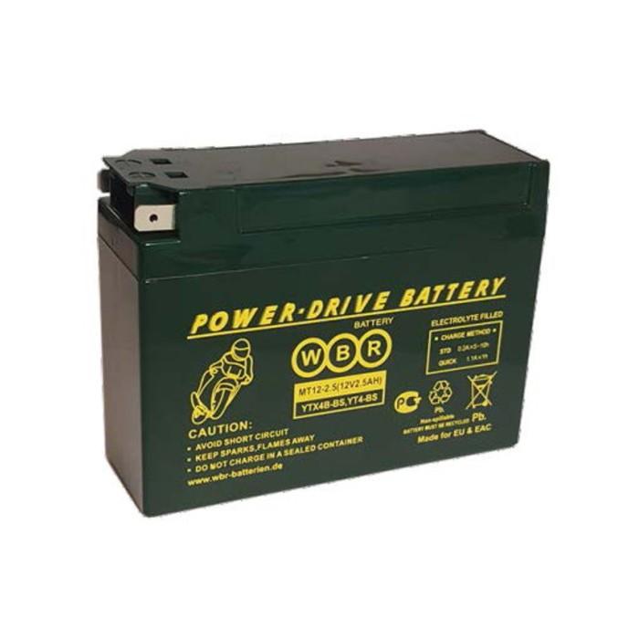 Аккумуляторная батарея WBR 2,5Ач боковая полярность MT12-2.5 YTX4B-BS