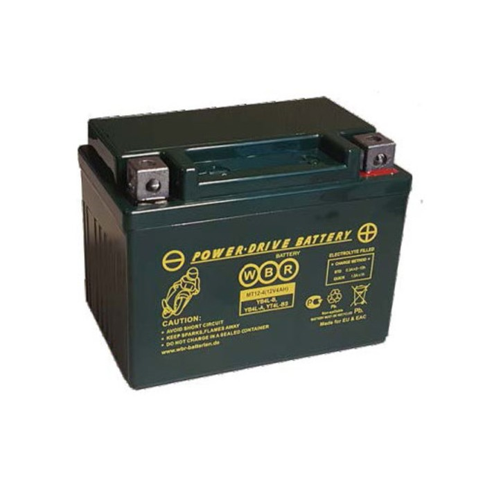 Аккумуляторная батарея WBR 4Ач обратная полярность MT12-4 YB4L-B,YT4L-BS,YTX4L-BS