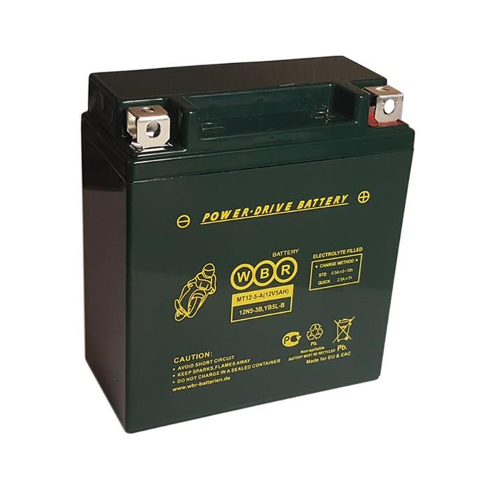 Аккумуляторная батарея WBR 5Ач обратная полярность MT12-5 YTX5L-BS,YTZ7S,YT5L-BS