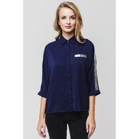 Блузка женская 7201-7 цвет тёмно-синий, р-р 44, рост 170