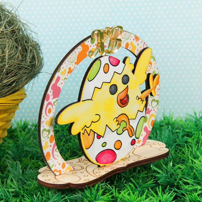"""Сувенир дерево пасхальный цветной """"Птенец в яйце"""" желтый 11,5х12,5 см"""