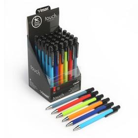 Ручка шариковая, автоматическая, 0.7 мм, Vinson, корпус прорезиненный, стержень масляный синий, МИКС