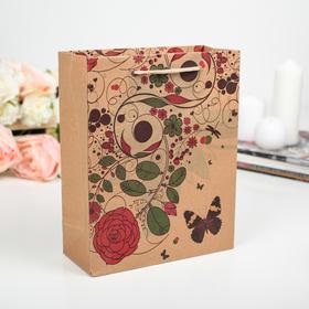 "Package Kraft ""Floral patterns"", 27 x 9 x 37 cm"