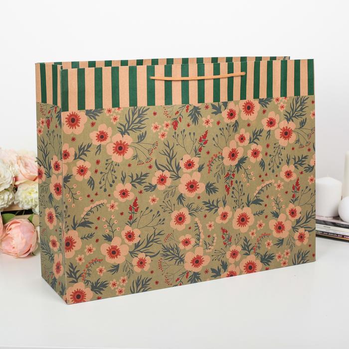 """Пакет крафт """"Полевые цветы"""", 49 х 13 х 38 см"""