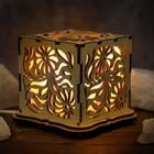 """Светильник соляной """"Цветы"""", куб, цельный кристалл, деревянный декор"""