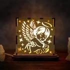 """Светильник соляной """"Ангелок"""", куб, цельный кристалл, деревянный декор"""