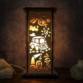 Соляной светильник 'Машинки', 20 х 12 см, деревянный декор Ош