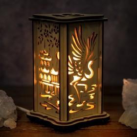 Соляной светильник 'Пагода', малый, 15 x 10 см, деревянный декор Ош