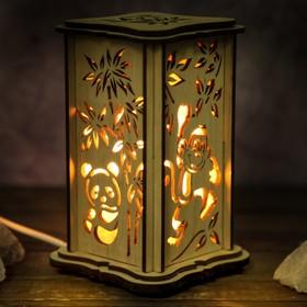 Соляной светильник 'Панда', малый, 15 x 10 см, деревянный декор Ош