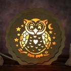 """Соляной светильник """"Сова"""", 16 x 15 х 6 см, деревянный декор"""