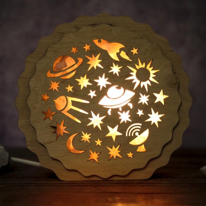 """Соляной светильник """"Космос"""", 16 x 15 х 6 см, деревянный декор"""