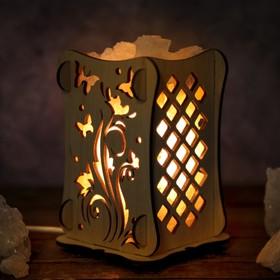 Соляной светильник 'Цветок с бабочкой', 9 х 14 см, деревянный декор Ош