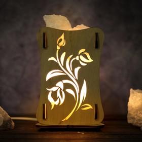 Соляной светильник 'Розы', 9 х 14 см, деревянный декор Ош