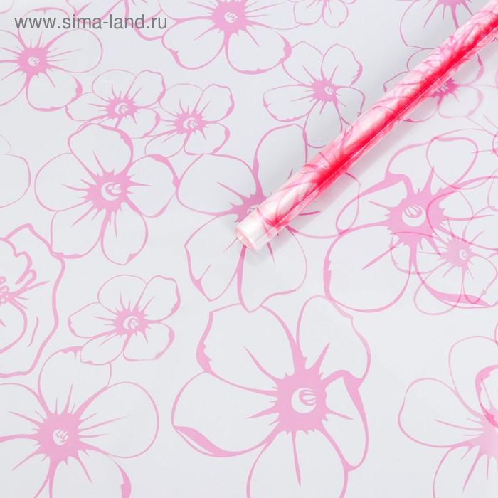 """Плёнка для цветов """"Лепестки розовые"""", 0,72 х 7,5 м, 40 мкм, 200 гр"""