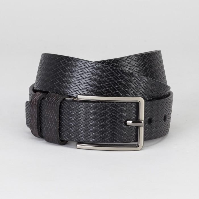 Ремень мужской, винт, плетение, пряжка металл, ширина - 4 см, цвет чёрный