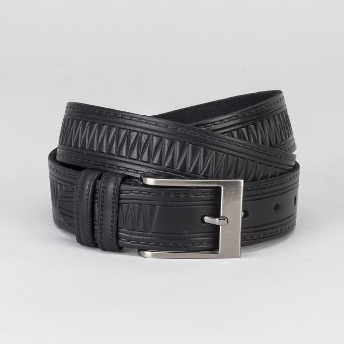 Ремень мужской, винт, пряжка тёмный металл, ширина - 3 см, цвет чёрный