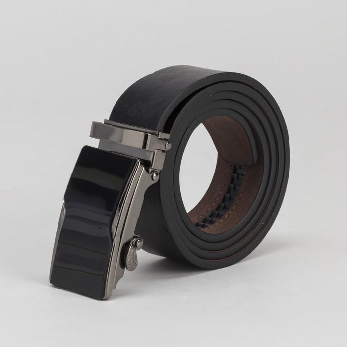 Ремень мужской, винт, гладкий, пряжка-автомат металлическая, ширина - 3,5 см, цвет чёрный
