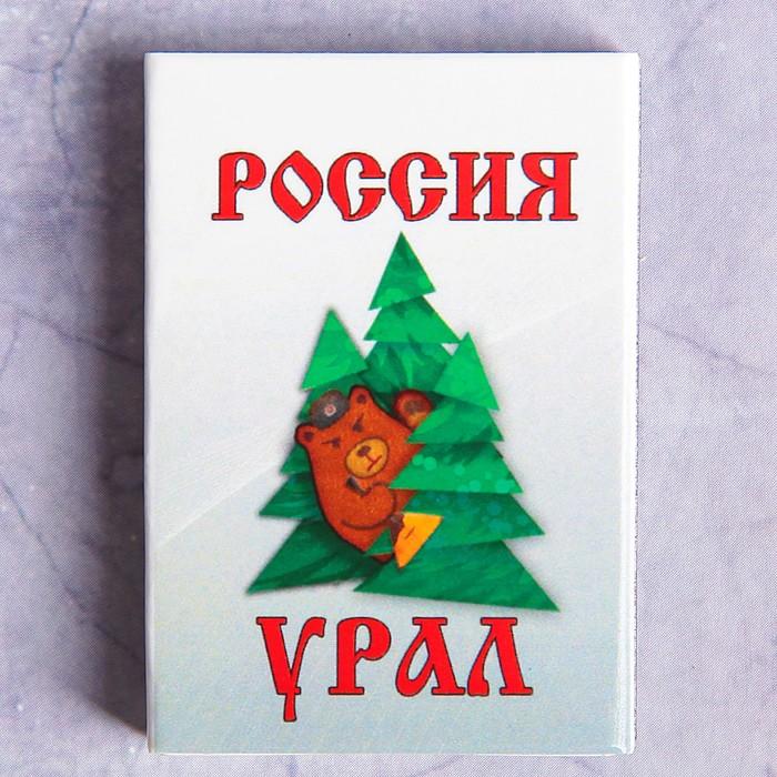 """Сувенирные спички """"Медведь и ёлки""""  51х35х8мм"""