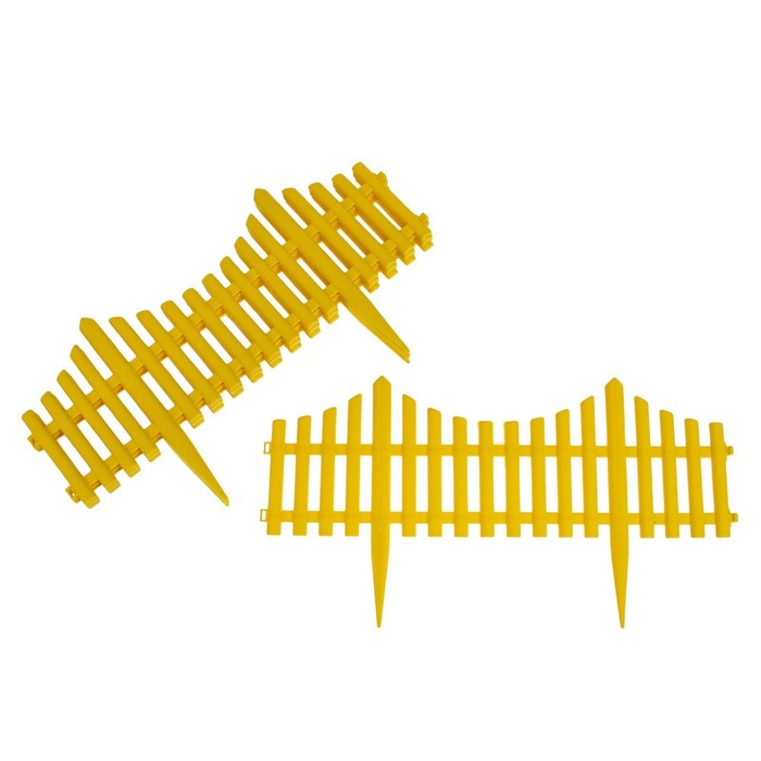 Ограждение декоративное, 30 × 300 см, 5 секций, пластик, жёлтое