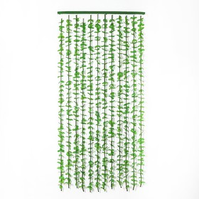 """Занавеска 90×175 см """"Листики"""", 12 нитей, цвет зелёный"""