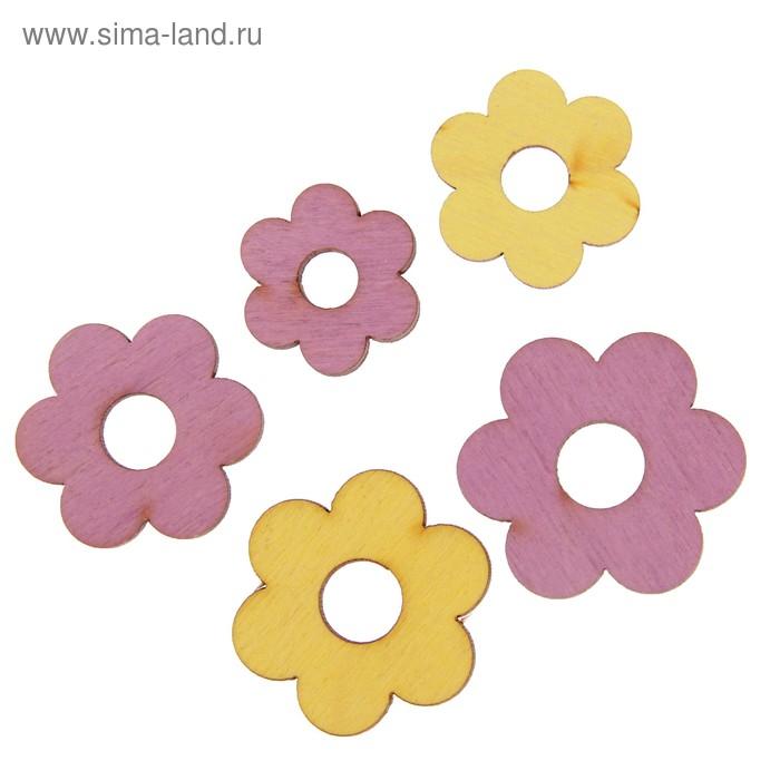 """Мининабор крашеный """"Цветочки"""" (5 шт) 2х3,2 см, фанера 3 мм"""