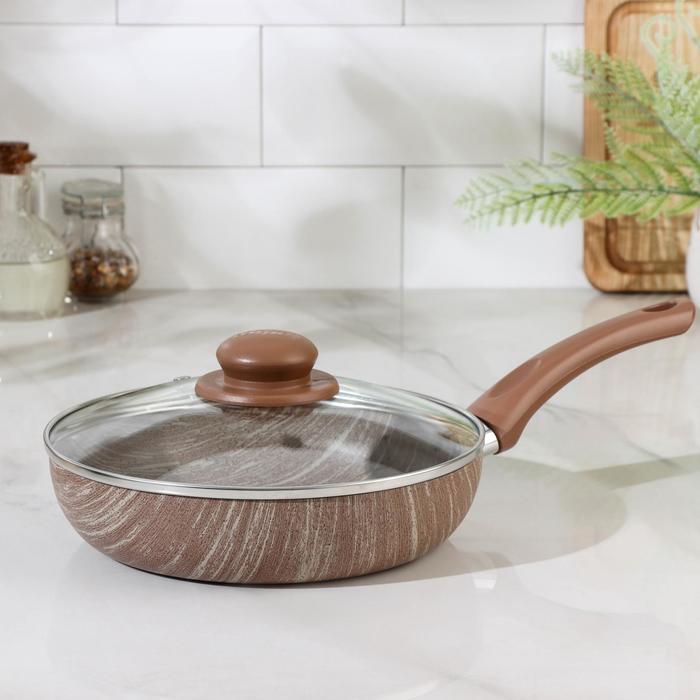Сковорода глубокая 22 см Kantry, со стеклянной крышкой