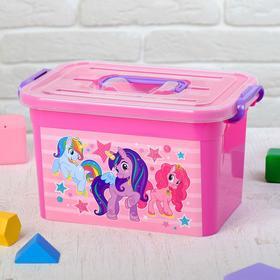 Ящик для игрушек 'Волшебные Пони' с крышкой и ручками, 6,5 л Ош