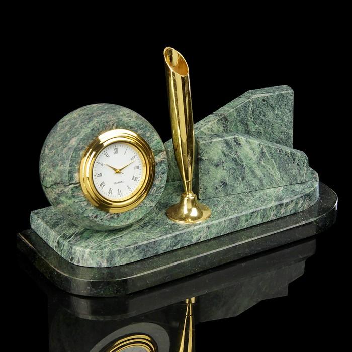 Визитница «Змеевик. Шар»: подставка для ручки, часы