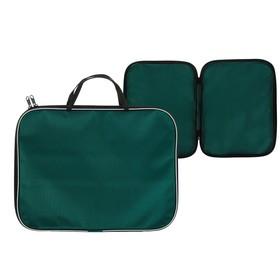 Папка с ручками текстиль А4 20 мм, 350*270 мм, офис, нейлон 600D, двуцветный кант, зелёная