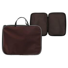 Папка с ручками текстиль А4 20 мм, 350*270 мм, офис, нейлон 600D, двуцветный кант, коричневая