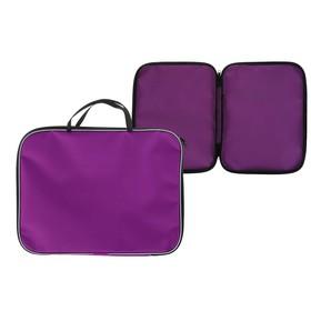 Папка с ручками текстиль А4 20 мм, 350*270 мм, офис, нейлон 600D, двуцветный кант, фиолетовая