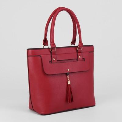 Сумка жен L-4104, 34*12*30, отдел с перег на молнии, н/карман, красный