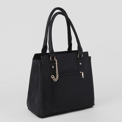 Сумка жен L-4105, 30*12*28, с кошельком, отд с перег на молн, 2 н/кармана, черный