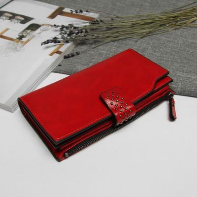 Кошелёк женский, 2 отдела, отдел для карт и монет, наружный карман, цвет бордо