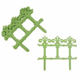 Ограждение декоративное, 33 × 267 см, 7 секций, пластик, салатовое, «Роскошный сад»