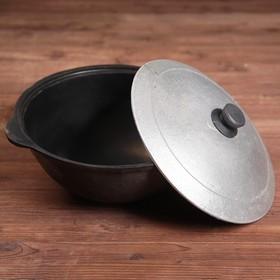Казан чугунный, 3,5 л, плоское дно, алюминиевая крышка - фото 1930677