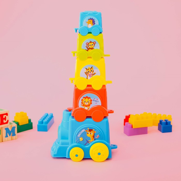 Пирамидка-паровозик «Зоопарк», 5 предметов, МИКС