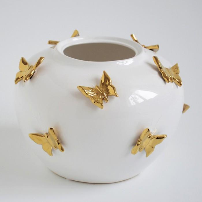 """Ваза """"Бабочки"""" 22 см белая с золотом"""