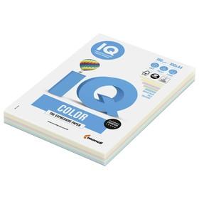 Бумага цветная А4 100 л, IQ COLOR, 160 г/м2, пастель 5цв*20л, RB01