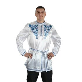 "Рубаха русская мужская ""Синие цветы"", атлас, р-р 52-54, цвет белый"