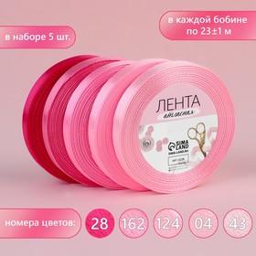 Набор атласных лент, 5 шт, размер 1 ленты: 10 мм × 23 ± 1 м, цвет розовый спектр