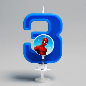 """Свеча в торт """"3"""", Человек паук"""