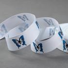 """Лента репсовая """"Бабочки"""", 25мм, 22±1м, цвет белый/голубой"""